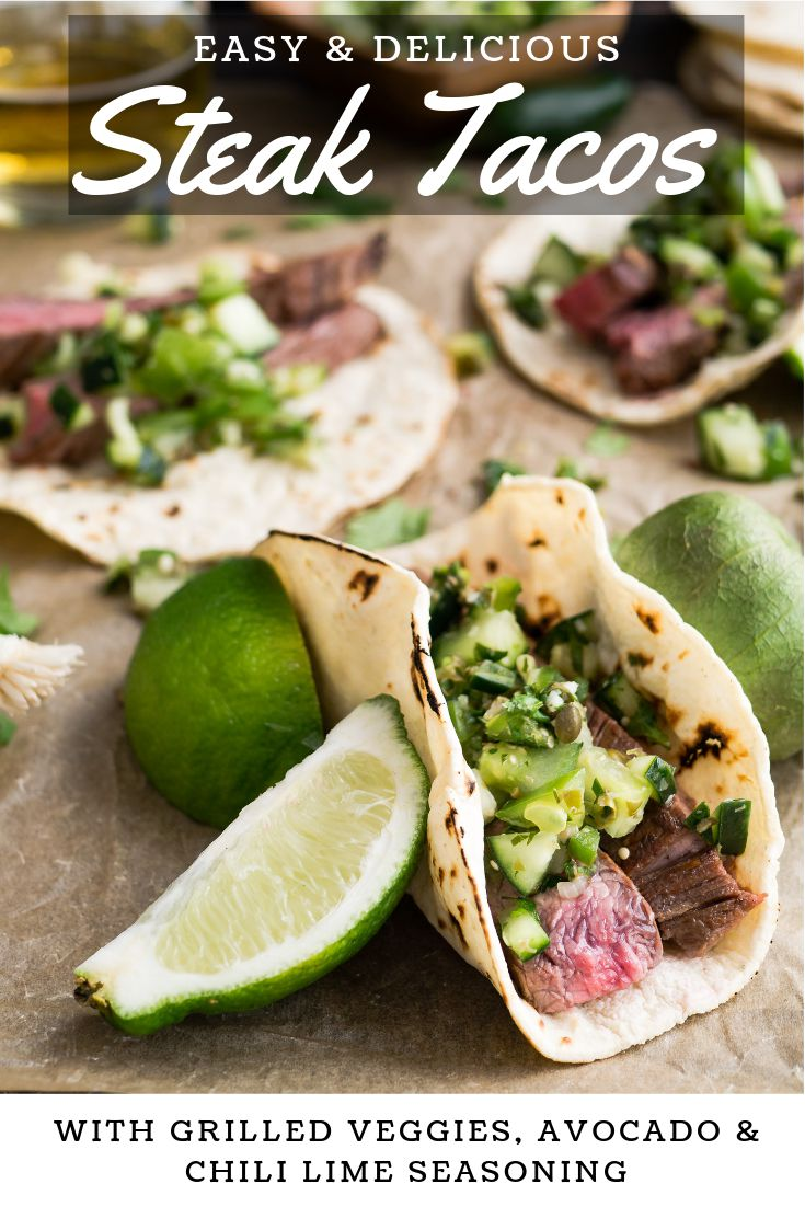 Flank Steak Tacos Recipe. How to make a delicious flank steak tacos recipe with avocado crema, cilantro and a chili lime rub for quick and easy weeknight dinners for taco Tuesday.