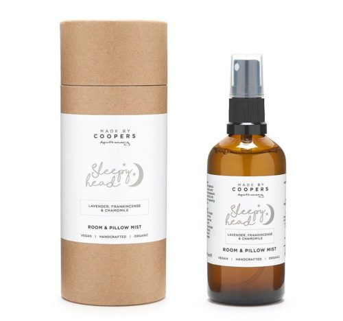 Sleepy Head Pillow Mist. Try aromatherapy for sleep to support rest and relaxation with this natural essential oil sleep spray Made by Coopers Apothecary.