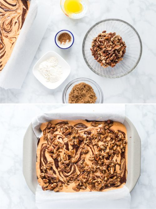 Pecan streusel for a fall dessert topping.