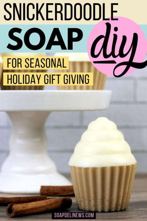 Soap Cupcakes DIY with melt and pour soap and natural essential oils. The perfect in shower treat and DIY beauty gift! Learn how to make homemade snickerdoodle soap cupcakes for your bath or shower. Made using melt and pour soap, this easy soap cupcakes recipe is naturally scented with essential oils and is simple enough for even beginning soap makers to craft. Gift them to yourself for self care or make them for DIY holiday gifts throughout the winter season.