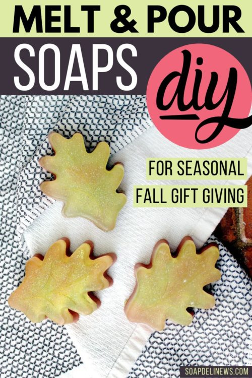 DIY fall soaps. These easy fall melt and pour soap recipes are perfect for even beginner soapmakers. They can be scented with your favorite fall fragrance oils or your choice of fall essential oil blends. Learn how to make six bars of homemade fall soaps in two designs using a single mold and working with no lye. Simple beginning melt and pour soap recipes for DIY holiday gifts for friends & family. Easy DIY soap gift ideas the kids can help craft.