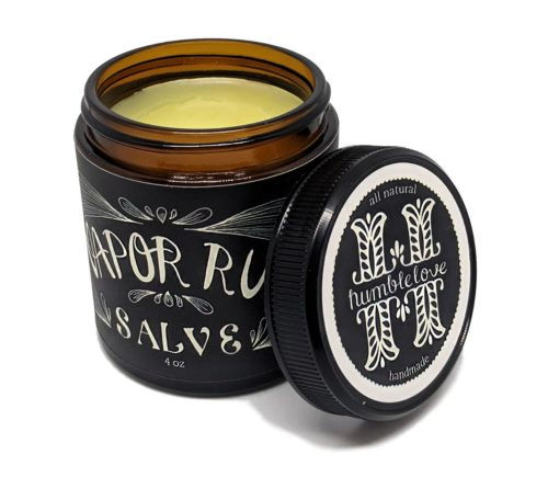 Vapor Rub Salve for fast cold relief. An all natural beeswax based mentholated balm from humblelove on Etsy. This natural cold remedy soothes coughs, chest congestion & sore throats. Made with organic ingredients.
