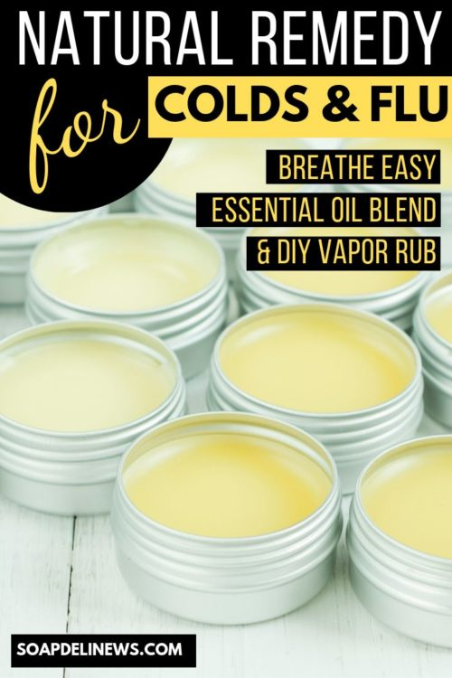 Homemade Vapor Rub Recipe for Nasal & Chest Congestion: A natural cold remedy with a breathe easy essential oil blend for fast cold relief of congestion and to soothe coughs. Try this natural breathe easy essential oil blend recipe to make your own homemade vapor rub cold remedy for symptom relief from nasal and chest congestion. A simple and effective home remedy for fast cold relief that eases congestion and cough when you're fighting a cold or the flu.