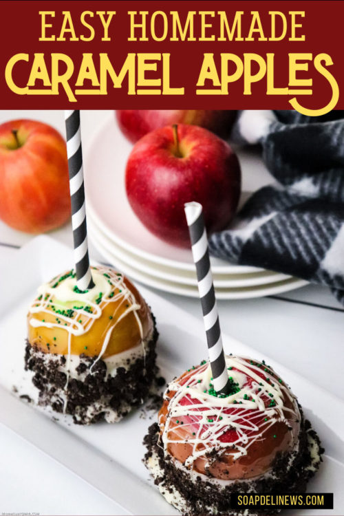 Caramel Apples Pops DIY with caramel, white chocolate & crushed Oreo cookie toppings. Learn how to make delicious, homemade caramel apples. A favorite cool weather treat, this easy caramel apples recipe is the perfect way to enjoy apples when they're in season. This caramel apples recipe is perfect for a weekday treat, an after school snack for the kids or a cake alternative at parties. #recipes #caramelapples #applepops #gourmet