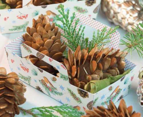 Marzipan Pine Cone Treats with Printable Gift Boxes via Country Hill Cottage for seasonal winter food gifts.