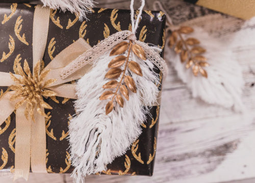 2-in-1 DIY Macrame Feather Christmas Ornament & Christmas Gift Topper for Professional Looking Handmade Holiday Gift Wrap