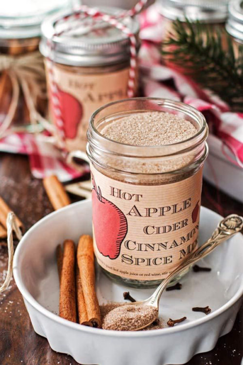 Hot Apple Cider Cinnamon Spice Mix in a Jar via Savory Nothings: Easy Christmas Gifts in a Jar