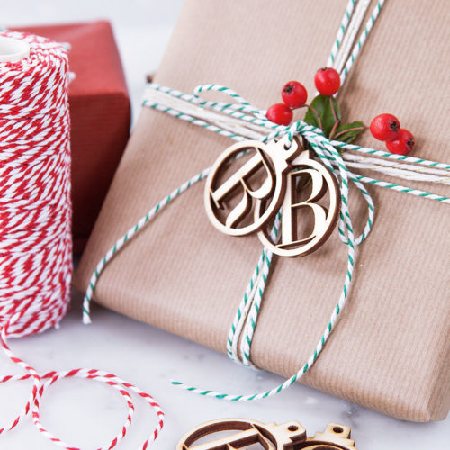 Wooden initial monogram Christmas ornament gift tags for handmade holiday gifts from Clouds and Currents