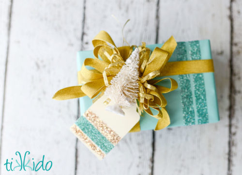 Glitter Striped Gift Wrapping Paper Tutorial for Christmas