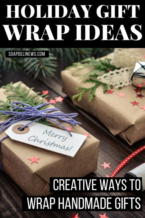 Christmas gifts wrapped in natural brown Kraft paper with foraged evergreens and botanicals for eco-friendly gift wrap
