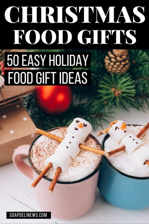 Holiday gifts and snowman marshmallows in hot chocolate