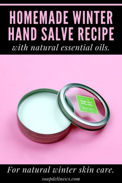 Hand Salve Recipe for Winter Skin Care with Natural Essential Oils & Beeswax. Learn how to protect, hydrate and soothe dry hands with this simple, homemade winter hand salve recipe. It's made beeswax, coconut oil and natural peppermint and pine essential oils. These ingredients then all come together to create a natural product that's perfect for your winter skin care routine.