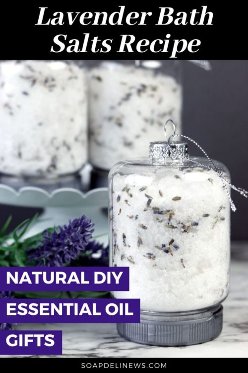 Easy essential oil gifts for friends and family. How to make easy DIY bath salt ornaments with lavender essential oil in just 15-minutes for easy last minute holiday gifts or wedding favors. Made with skin nourishing Epsom salt and Dead Sea salt, this easy homemade holiday gift idea is perfect for bath time self care. These easy DIY bath salt ornaments are the perfect natural holiday gift idea. Plus discover more bath salts recipes and essential oil gift ideas for your favorite people.