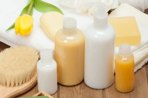 Shampoo and conditioner bottles and other hair care products