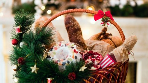 Christmas gift basket filled with food