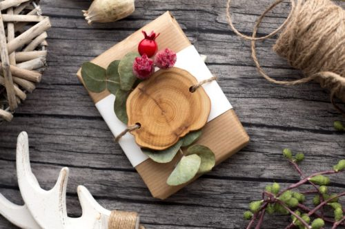 Natural eco friendly rustic Christmas gift wrap inspiration