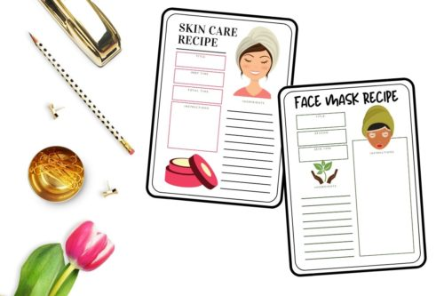 printable skin care recipe and face mask recipe cards