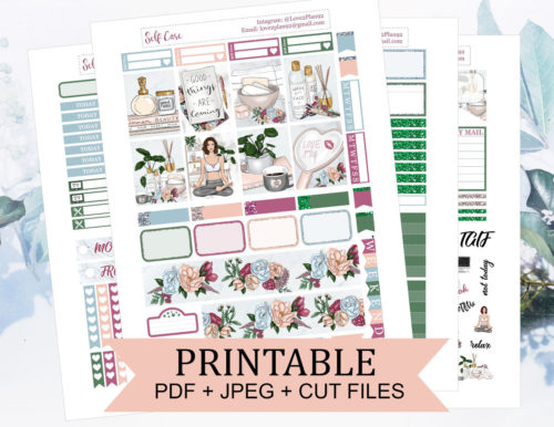 Printable self care weekly planner stickers