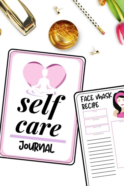 How to make a self care journal. Learn how to make a self care journal for inner reflection and emotional health with these free printable self care journal pages that are all about self care! This printable self care journal contains inspirational blank journal pages for writing down your thoughts and dreams, as well as pages for setting goals, healthy food recipes, skin care recipes and face mask recipes. Plus 60 self care journal prompts and easy self care ideas and projects to make at home.