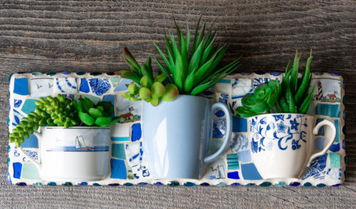 mosaic upcycled, teacup succulent wall planter from Peace by Piece Co.