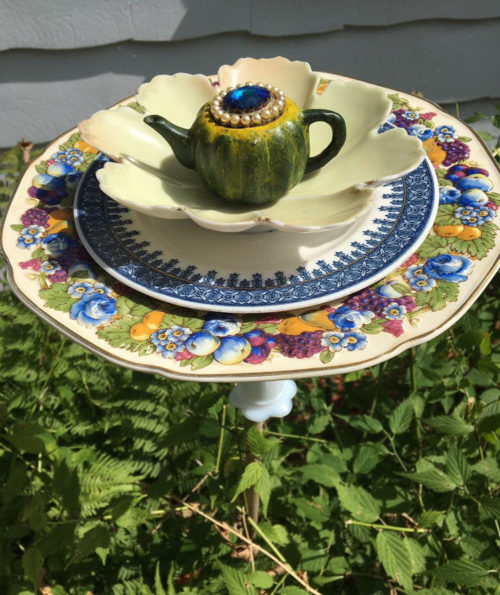 Upcycled bird bath from vintage dishes from Mscenna on Etsy