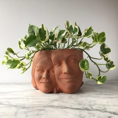 Gift Guide for Valentine's Day: Custom Couples Portrait Sculpture Planter for Valentine's Day