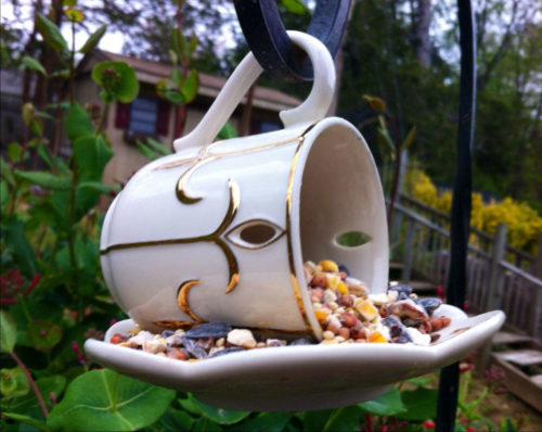 Upcycled vintage teacup bird feeder idea from GoGoGarden