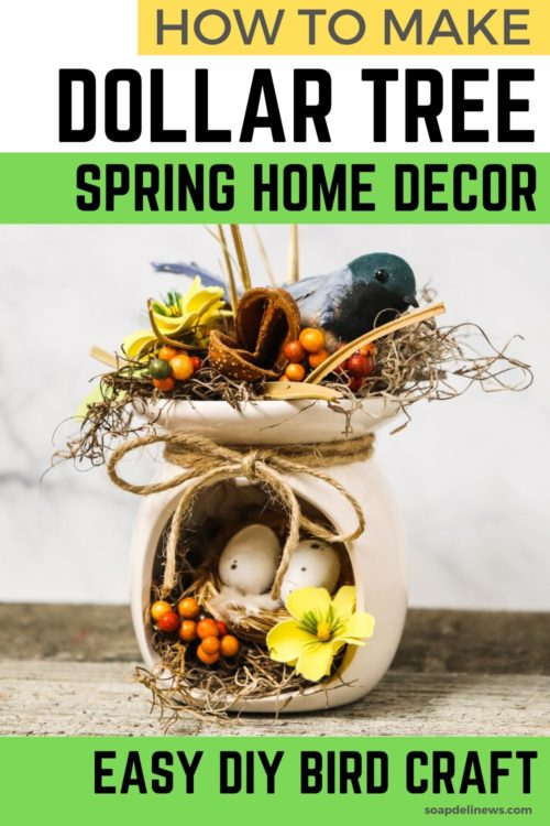 Dollar Tree Crafts for Spring. Easy DIY home decor on a budget. How to make a DIY Bird Craft Fragrance Warmer for your budget friendly spring home decor. This easy DIY Dollar Store craft is the perfect accessory for your home. And it also makes a thoughtful DIY housewarming for a new neighbor, friend or family member. Decorate your home for spring now with this fun spring bird crafts made with supplies from the Dollar Tree for your next DIY spring decor project.