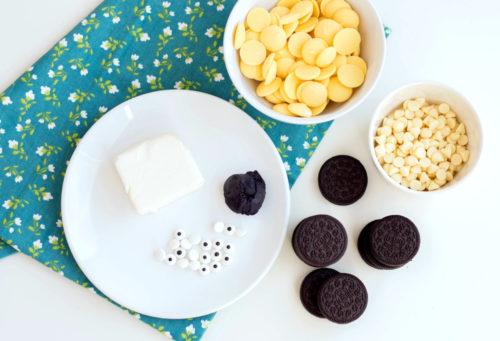 Ingredients for making bumblebee oreo cookie truffles