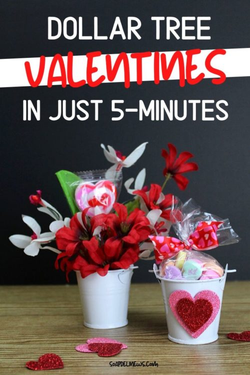 Dollar Tree valentines. How to craft DIY Dollar Tree valentines two ways in just 5-minutes or less using nothing Dollar Store items for easy, inexpensive DIY Valentine's day gifts that also double as cute Valentine's party favors or DIY wedding favors. Whether you need valentines or gift ideas for someone special or a Valentine's day party, these easy DIY Dollar Tree valentines also make easy Valentine's Day Dollar Store crafts for make and takes. #diyvalentines #dollarstorecrafts #valentine