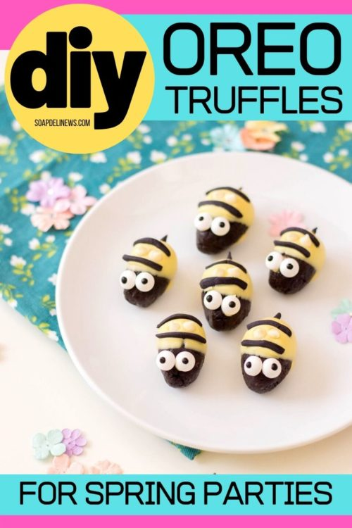 Oreo Cookie Truffles with Cream Cheese for Spring Entertaining. These easy, no bake Oreo cookie truffles are perfect for spring entertaining. Shaped like cute little bumblebees, this easy Oreo cookie truffles recipe is made with cream cheese, white chocolate chips, Oreos and fondant. This recipe for bumblebee Oreo cookie truffles makes a fun and tasty addition to any spring event or party if you need cute spring party ideas. A simple spring dessert recipe. No bake party dessert.