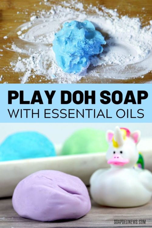 DIY Play Doh Soap for Kids with Kid Safe Essential Oils. A creative kids activity for bath time fun. Learn how to make DIY Play Dough Bath Soap for kids with this easy recipe that uses ingredients from your kitchen. This play dough soap recipe is a fun DIY kids crafts projects idea for kids bored at home. Make hand washing and bath time fun with this play dough bath soap recipe made with liquid Castile soap and essential oils for a safe natural fragrance. Get the play dough bath soap recipe now.