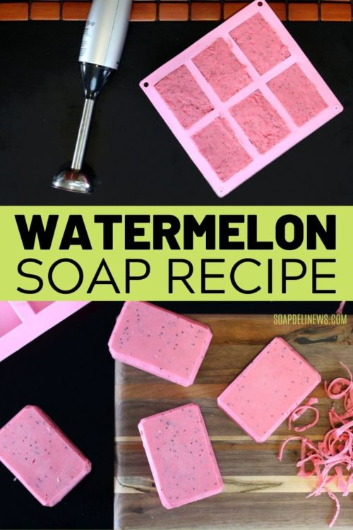 Watermelon cold process soap recipe with skin brightening vitamin C for glowing skin. Lighten skin and hyperpigmentation while also evening out skin tone with this natural watermelon soap recipe. Best beauty tips for anti-aging skin for natural skin lightening of hyperpigmentation and dark spots without irritation. This DIY watermelon soap is a wash off product, it makes a great addition to your daily beauty regimen if you have sensitive skin or find vitamin C serums irritating. #skinlightening