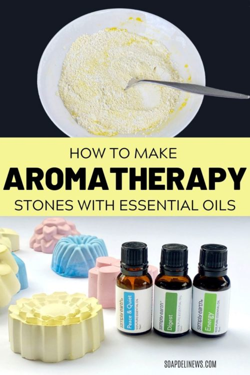 Essential oil aroma stones DIY. A quick and easy alternative to an essential oil diffuser for a home fragrance. Enjoy aromatherapy with this easy adult craft project for making DIY plaster aroma stones for your favorite essential oils blends. These portable take anywhere essential oil diffusers are perfect for essential oils or fragrance oils to scent your home. Plus try my relaxing essential oil blend for your aroma stone diffuser to promote calm and reduce anxiety during stressful periods.