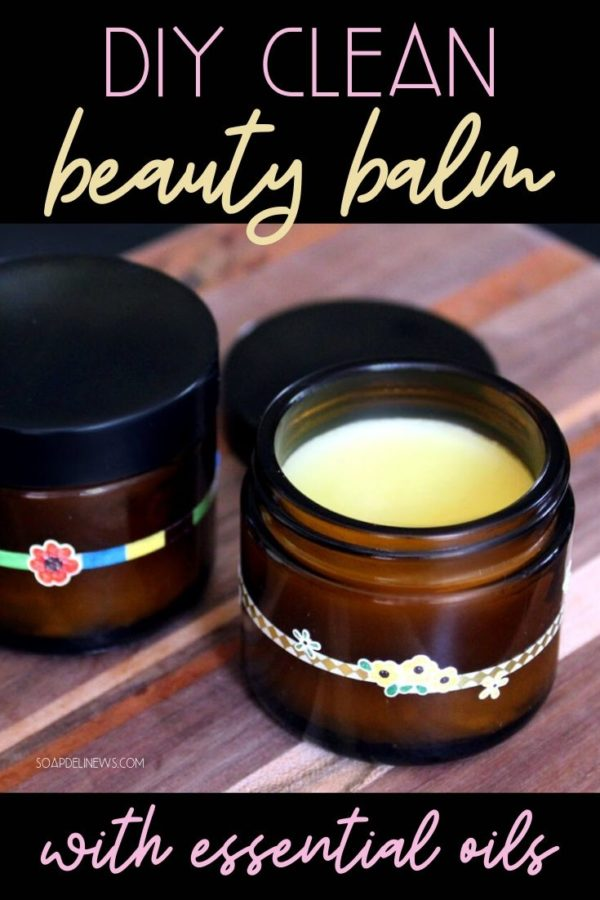 DIY clean beauty balm recipe. This DIY clean beauty product for facial care is made with essential oils and natural skin care ingredients like rosehip seed oil and pomegranate oil. It is a fantastic moisturizer for dry or maturing skin, but can also help to prevent acne. The organic blend of essential oils balance skin and promote skin health for beautiful glowing skin. This clean beauty balm recipe is also great for acne scars and helping to diminish the appearance of fine lines and wrinkles.