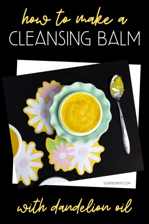 DIY cleansing balm recipe with dandelion infused oil! A simple green beauty recipe for your natural skin care routine with as few as 2-ingredients. This all natural, makeup melting facial cleanser nourishes skin as it removes makeup, dirt and grime for a wonderful, clean beauty alternative. It's the perfect fit for your natural skin care care routine. Discover how to make a DIY dandelion cleansing balm recipe, learn about its natural skin care benefits, additional uses and simple substitutions.