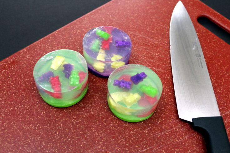 making basic diy gummy bear soap