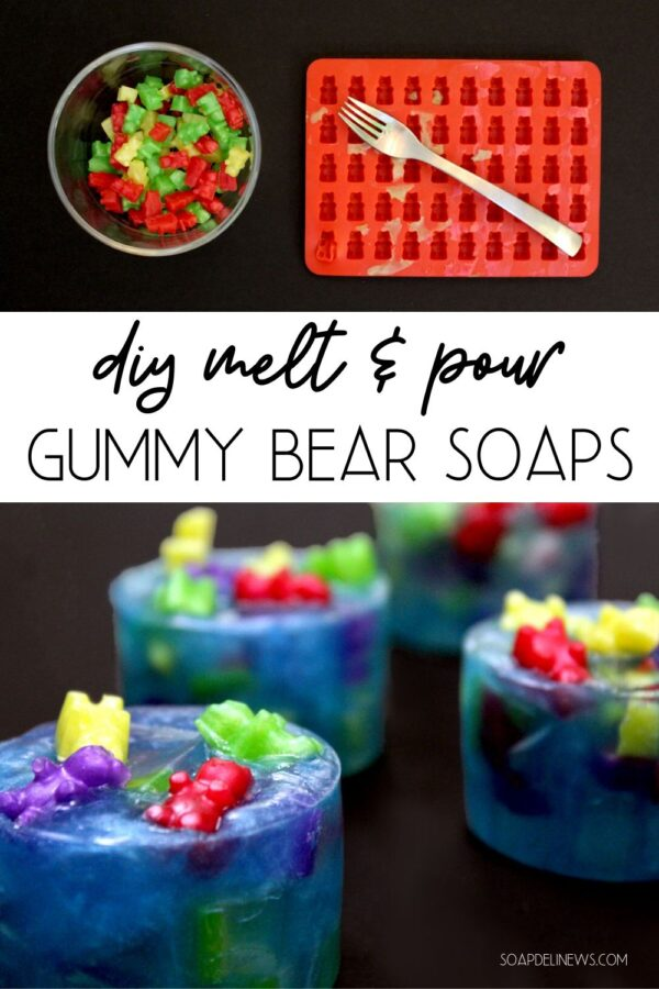 DIY gummy bear soap. Learn how to make gummy bear soap with this easy melt and pour soap tutorial for beginners that uses a gummy bear soap mold. An easy gummy bear soap recipe plus instructions on how to embed your gummy bear soaps into gummy bars along with instructions on creating a custom melt and pour soap recipe using any size or shape mold of your choice. A pool party gummy bear soap making idea that's fun for the whole family to craft together.