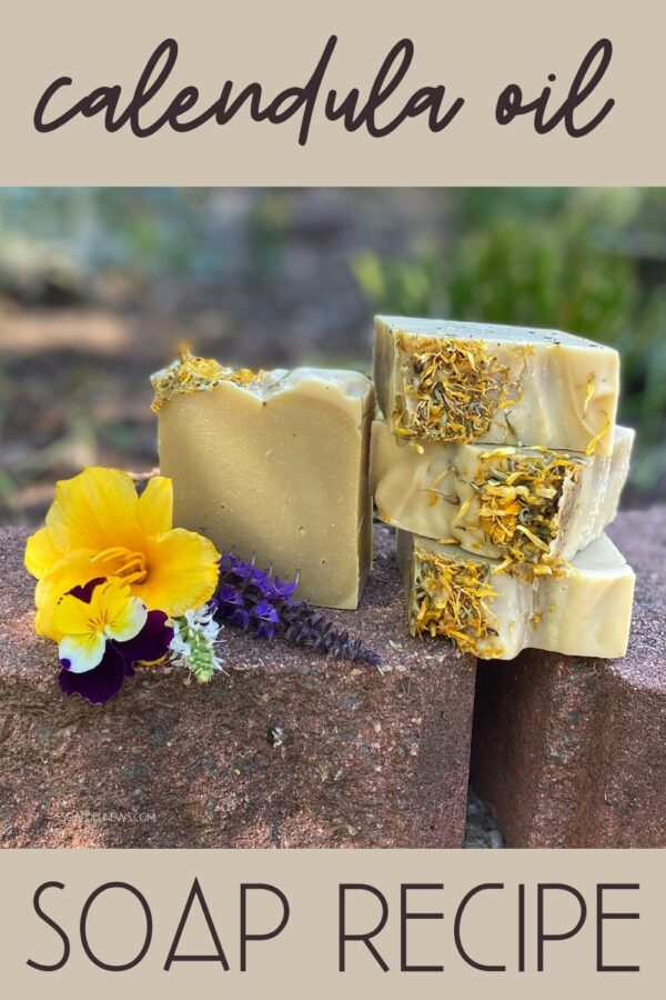Cold process calendula soap recipe. A natural skin care recipe for clean beauty, this natural calendula soap with calendula infused oil helps to prevent acne and offer relief from dry skin and eczema, in addition to addressing other common skin problems. This green beauty soap recipe is formulated with neem oil, calendula infused oil, cocoa butter and a simple essential oil blend to create a hydrating soap that improves skin's appearance and promotes skin health with all natural ingredients.