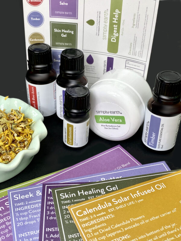 Ingredients for making essential oils recipes for natural health, home and beauty from the Simply Earth essential oil recipe box