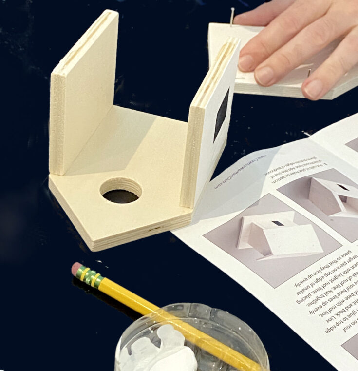 DIY birdhouse ideas. How to make a cottage birdhouse craft project for women using an adult craft kit. Discover easy birdhouse designs and ideas for constructing bird house plans. Plus easy birdhouse painting ideas for women to create on their own as an enjoyable hobby from home. Explore numerous new adult crafts for women with the best adult craft kits and an adults & crafts - craft kits subscription box for women. #crafts #birdhouse #diy