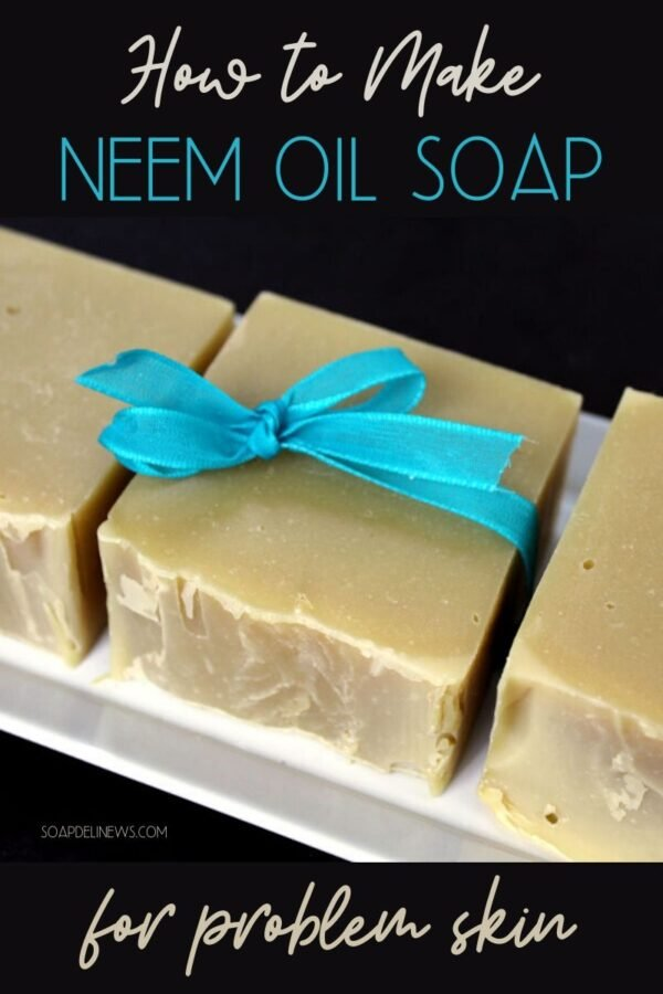 Enjoy the skin care benefits of neem oil with this natural neem oil soap recipe for clean beauty. Learn how to make a cold process neem oil soap recipe plus tips on covering up the scent of natural neem oil so you can enjoy neem oils natural skin care benefits without the stink. A wonderful natural remedy for problem skin, this homemade DIY neem oil soap is perfect for soothing eczema, offering dry skin relief and tackling other tough skin problems that cause skin irritation. #skincare #neem oil