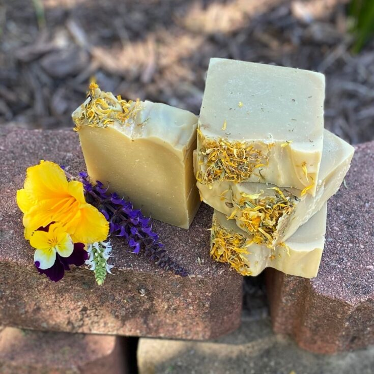 This natural calendula soap recipe is formulated with neem oil, calendula infused oil, cocoa butter and a simple essential oil blend to create a hydrating soap that not only improves skin's appearance, but also eases symptoms of everyday skin issues including acne and dry skin.