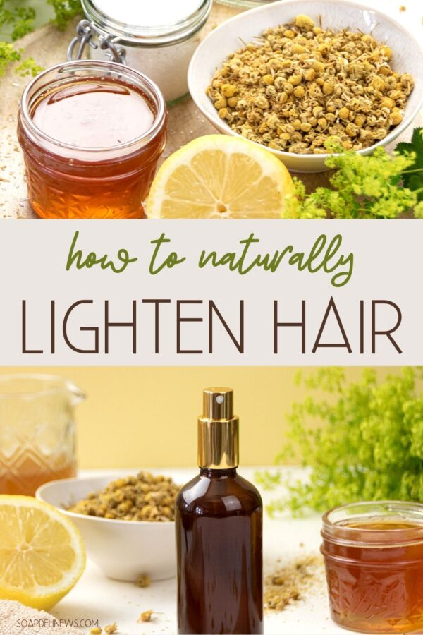 Lighten hair naturally with an easy, herbal DIY hair lightener spray. This homemade hair lightener sets soft highlights & lends a healthy, sun-kissed glow. Want to learn how to lighten hair naturally? Discover different ways for to naturally lighten your hair with everyday ingredients plus an easy DIY hair lightener spray recipe! These simple, natural hair care recipes are perfect for summer. Or use them year round to give your hair a lift and bring out natural highlights, and hair looks dull.