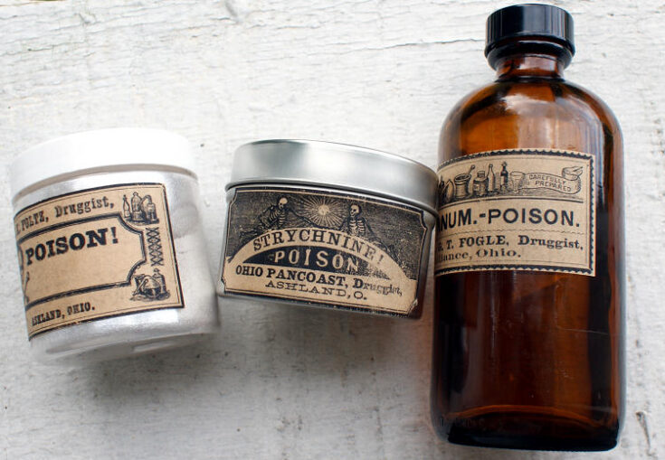 DIY Halloween Decorations: Printable Poison Apothecary Labels for Halloween Apothecary Bottles and Jars to decorate your home for Halloween.